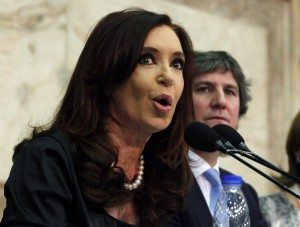 Argentina's President Fernandez de Kirchner speaks next to Vice-President Boudou during the opening session of the 131st legislative term of Congress in Buenos Aires