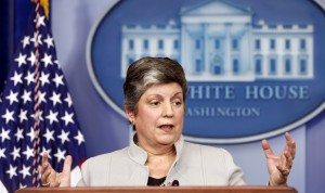 Homeland Security Secretary Janet Napolitano speaks about the effects of the sequester from the White House in Washington