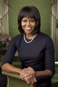 Handout photo of the official portrait of First Lady Michelle Obama in the Green Room of the White House