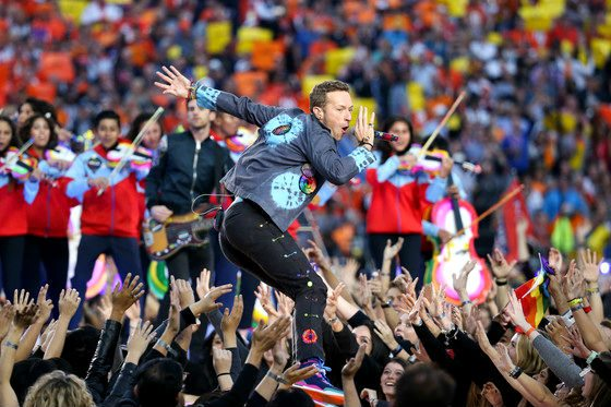 Chris Martin, Coldplay, Super Bowl. (Foto: la.eonline.com)