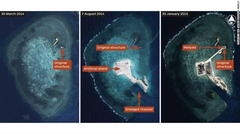 Progreso de construcción china de la isla artificial sobre el arrecife en las islas Spratly. (Foto: cnn.com)