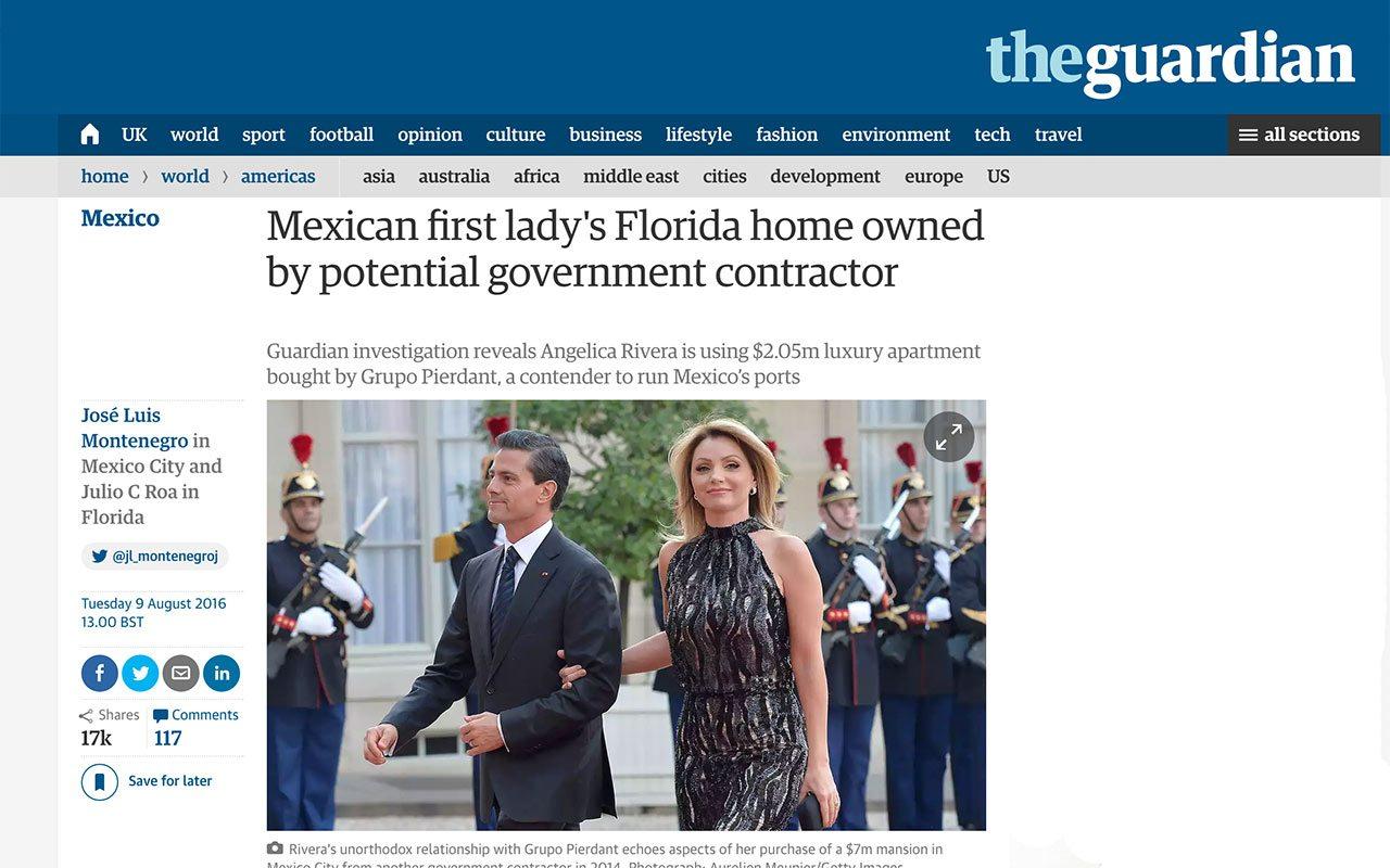 The Guardian borra reportaje sobre casa de Angélica Rivera en Miami