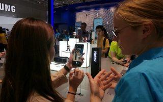 Demostración del Galaxy Note 7 en el IFA de Berlín. (Foto: Staff.)