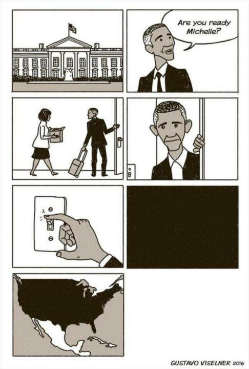 Excelentes animadores hacen ilustración ante la salida de Obama