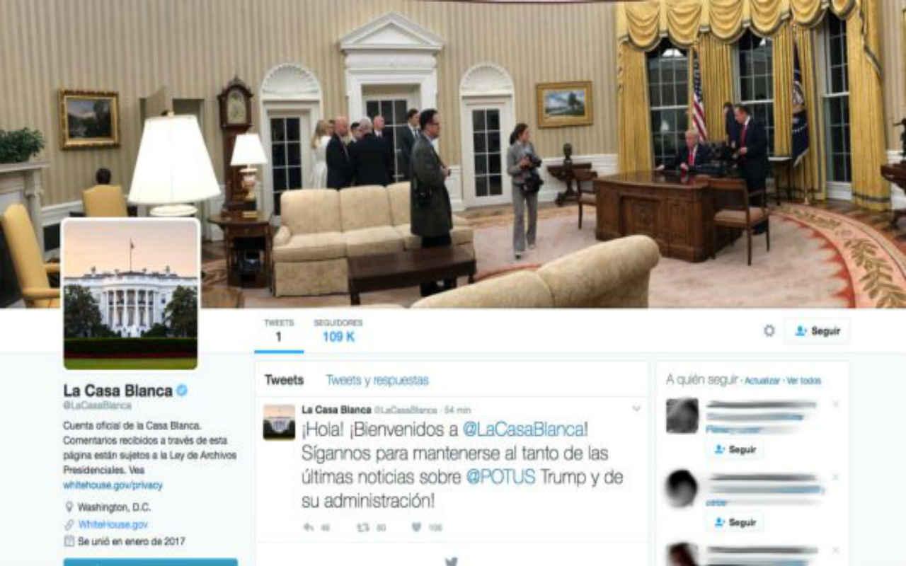 Casa Blanca reactiva su cuenta de Twitter en español… con errores