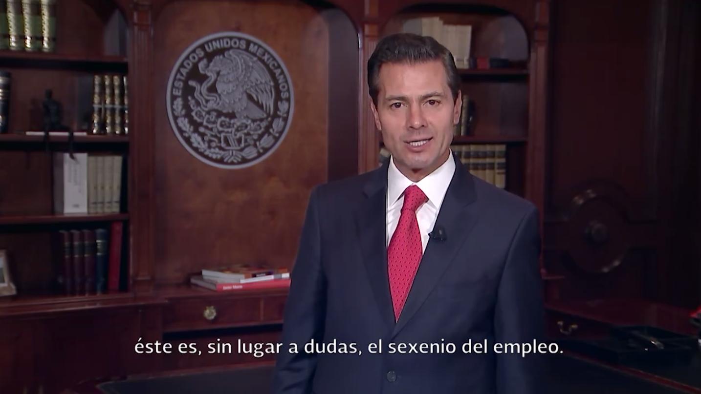Peña presume 'sexenio del empleo' con 86,233 nuevos trabajos
