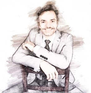 Eugenio Derbez. Ilustración digital sobre una fotografía de Denise Truscello/Getty Images Portrait.