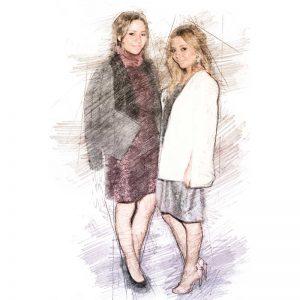 Pamela y Paola Wong. Ilustración digital sobre una fotografía de Victor Chavez/WireImage.