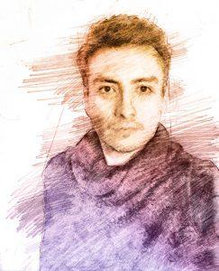 Robin Morales. Ilustración digital sobre un autorretrato.