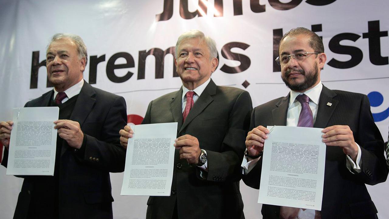 Morena, PT y Encuentro Social firman coalición para 2018