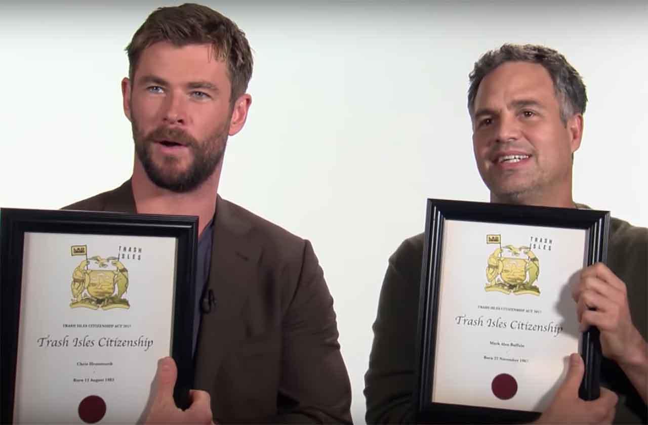Chris Hemsworth y Mark Ruffalo son los nuevos ciudadanos de Trash Isles