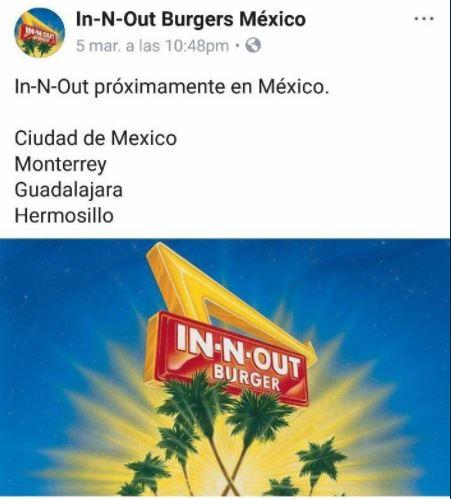 ¡Lo sentimos! In-N-Out no abrirá sucursales en México