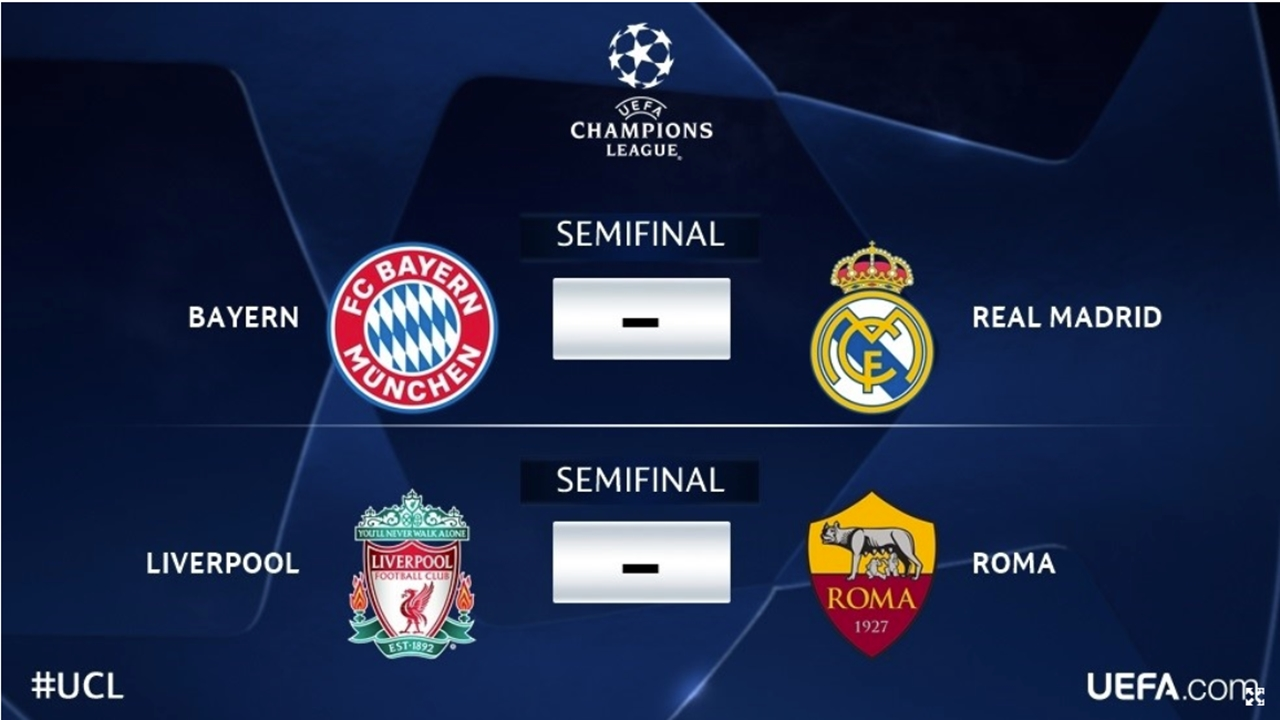 Real Madrid-Bayern y Liverpool-Roma, semifinales de Champions