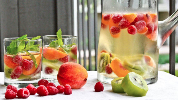 agua, fruta, infusiones