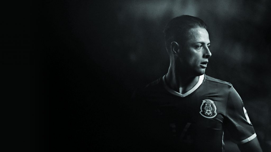 SAN LUIS POTOSI, MEXICO - OCTOBER 06: (EDITORS NOTE: Image has been converted to black and white) Javier Hernandez of Mexico gestures during the match between Mexico and Trinidad & Tobago as part of the FIFA 2018 World Cup Qualifiers at Alfonso Lastras Stadium on October 6, 2017 in San Luis Potosi, Mexico.