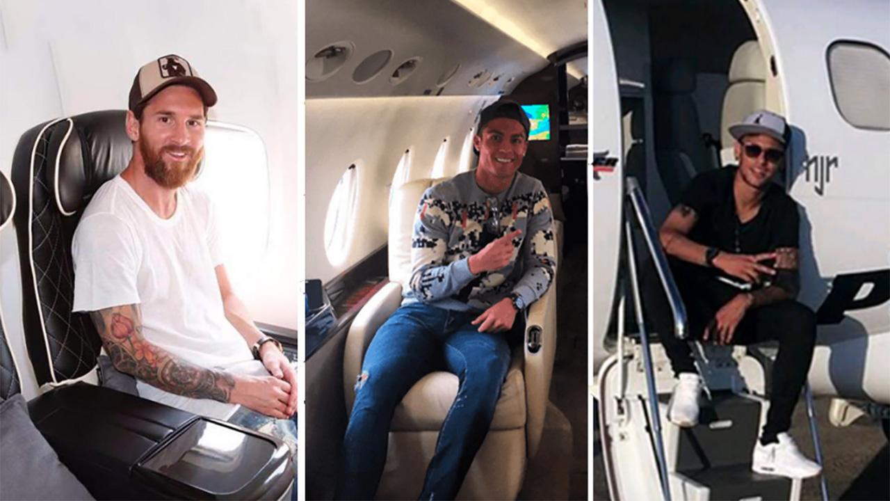 futbolistas, jets, futbol, avión
