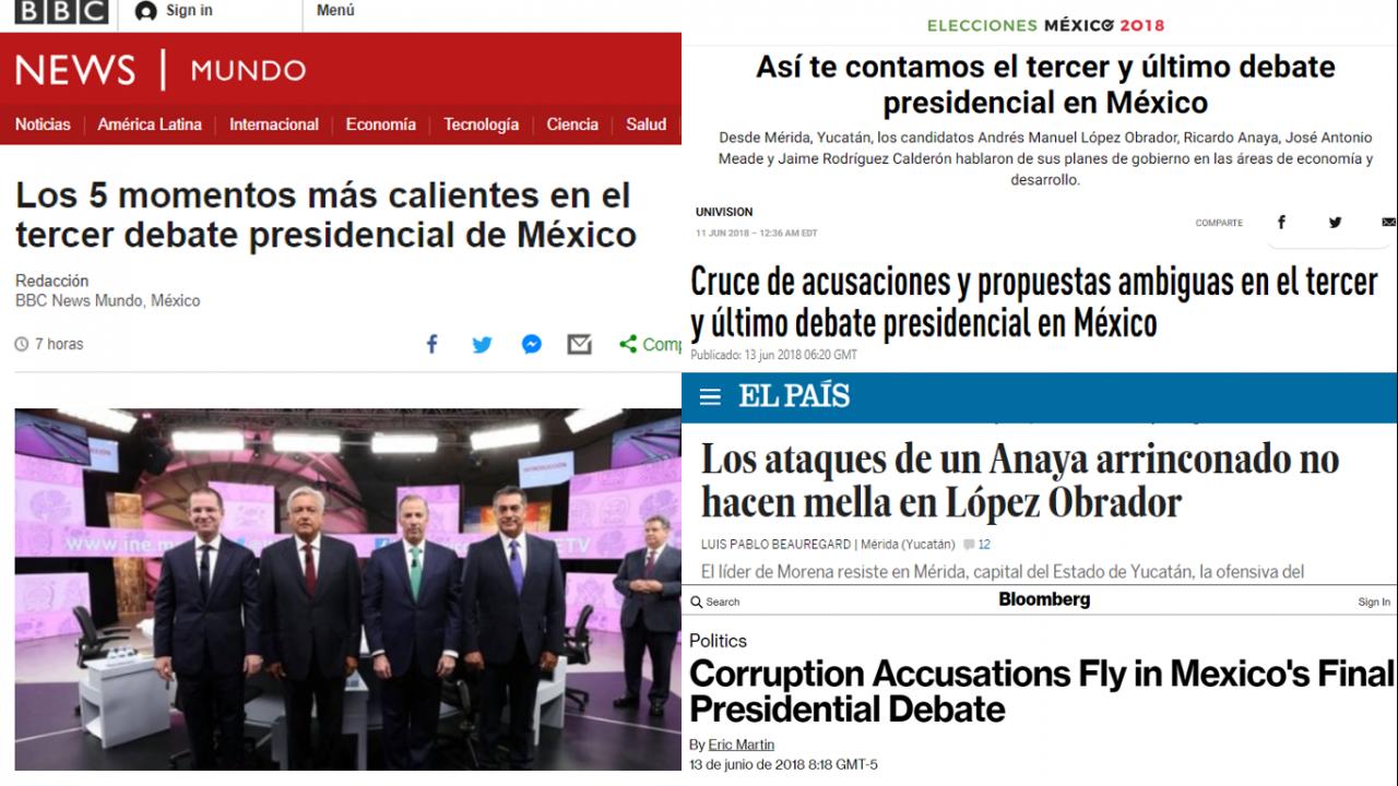 Así vio la prensa internacional el tercer debate presidencial