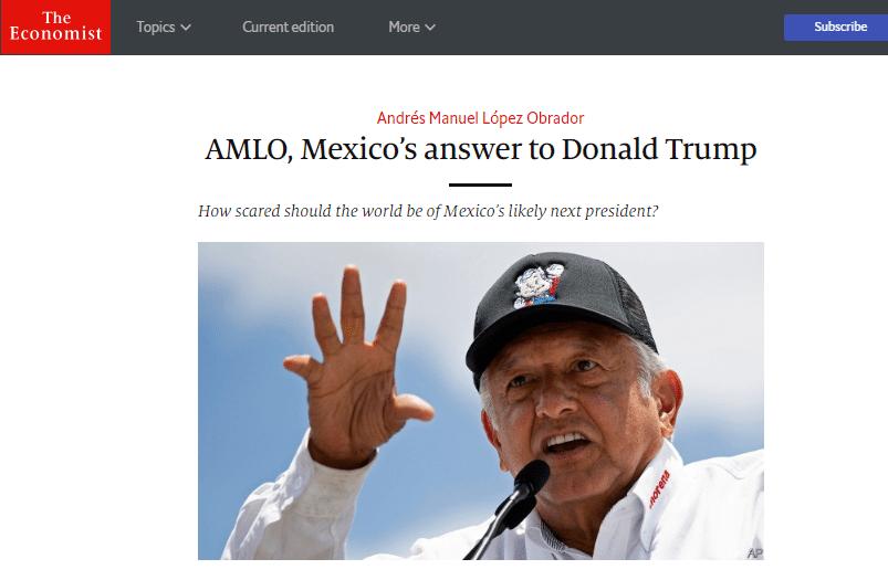"""AMLO como presidente sería un """"experimento arriesgado"""", asegura The Economist"""
