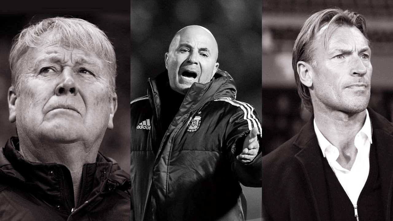 15: Åge Hareide (Foto: Lars Ronbog/FrontZoneSport via Getty Images). 17: Jorge Sampaoli (Foto: Gabriel Rossi/Getty Images). 18: Hervé Renard (Foto: Marco Canoniero/LightRocket via Getty Images).