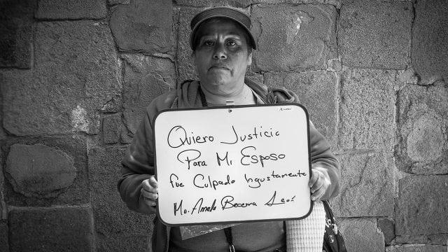 """""""Quiero justicia para mi esposo, fue culpado injustamente. Ma. Amada Becerra León"""". Foto: Angélica Escobar/Forbes México."""