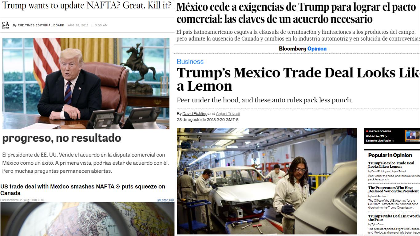 Así vio la prensa internacional el acuerdo comercial EU-México