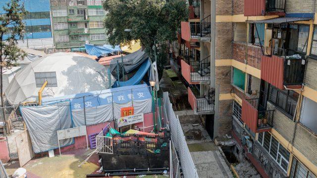 Parte del campamento de las chanchas del Multifamiliar Tlalpan. Foto: Angélica Escobar/Forbes México.