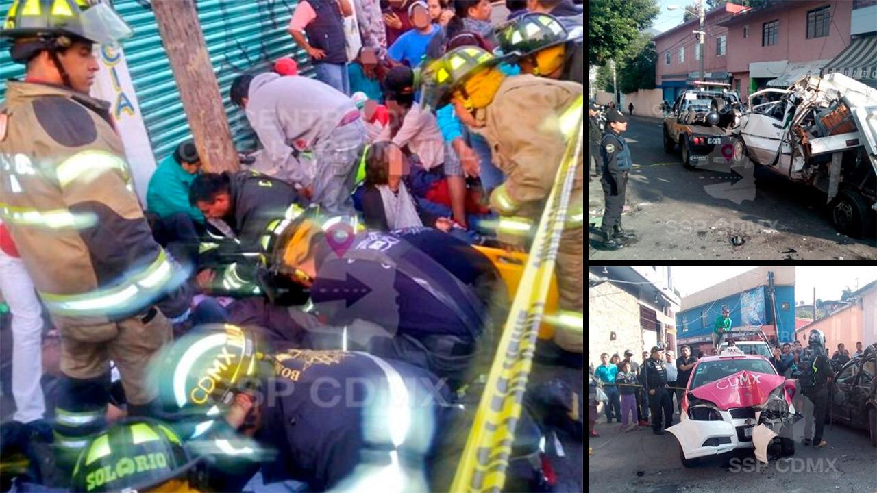 Microbús ocasiona carambola y atropella a peatones en la GAM