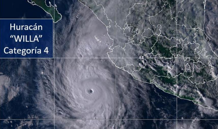 Huracán Willa impactará a costas mexicanas el próximo miércoles