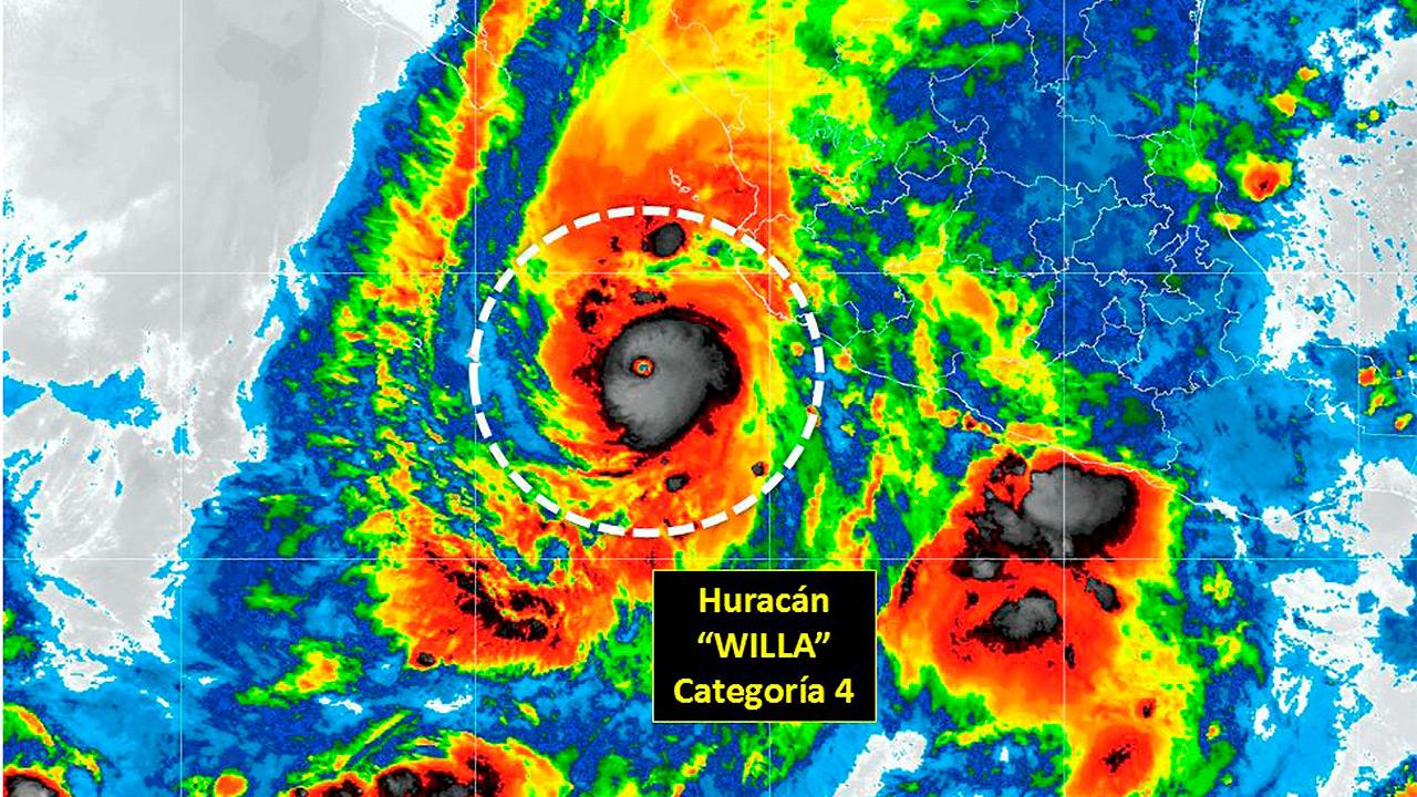 Huracán Willa alcanza categoría 4 y se acerca a costas mexicanas