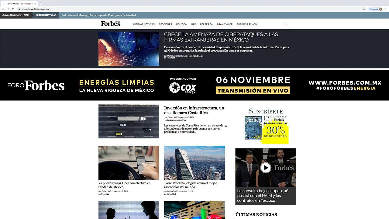 Forbes México lidera audiencia en medios digitales de negocios