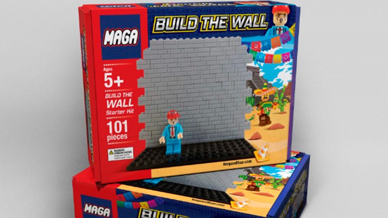 Lanzan juguete para construir muro y que migrantes no lleguen a EU