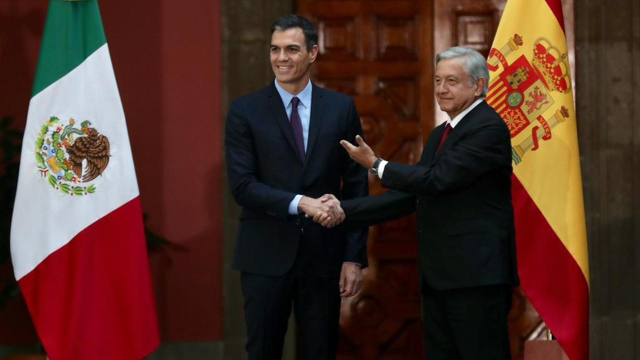 López Obrador recibe al presidente español en Palacio Nacional