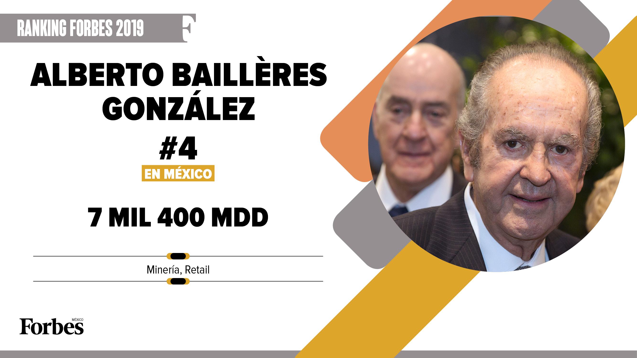 Billionaires 2019 | Alberto Baillères, 3,300 mdd menos, pero sigue al frente