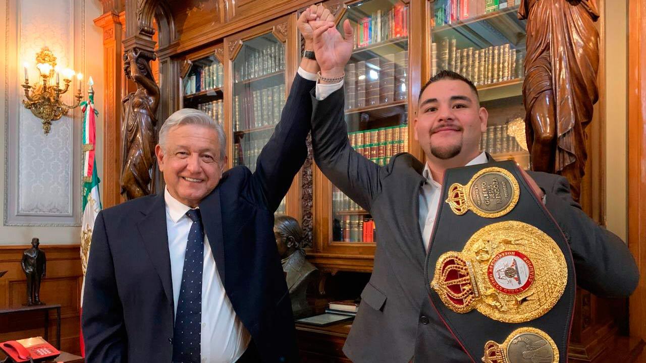 El campeón Andy Ruiz se reúne con AMLO en Palacio Nacional