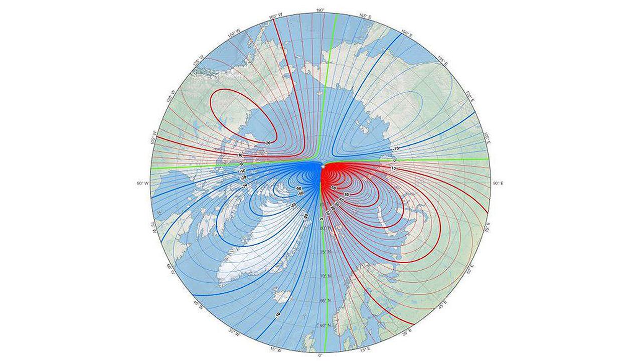 Confirman que el polo norte magnético volvió a desplazarse