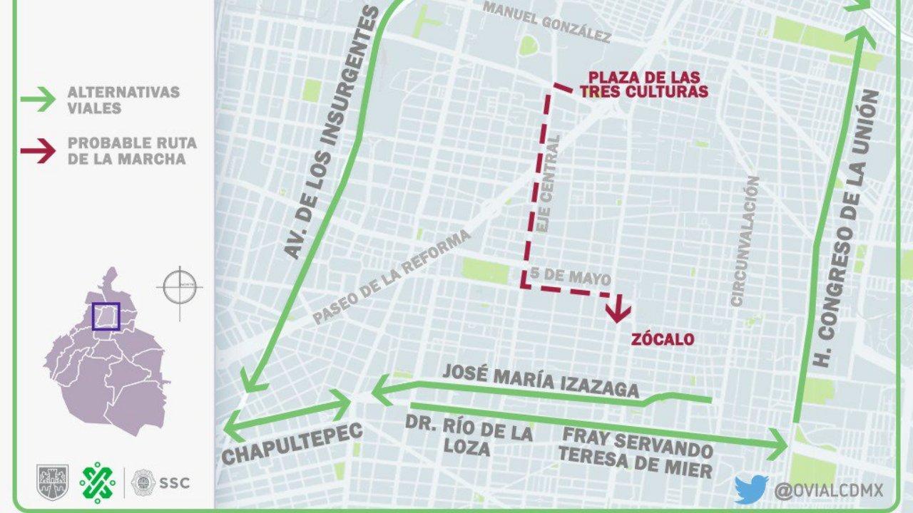 Avenidas y transportes afectados por la marcha del 2 de octubre en CDMX