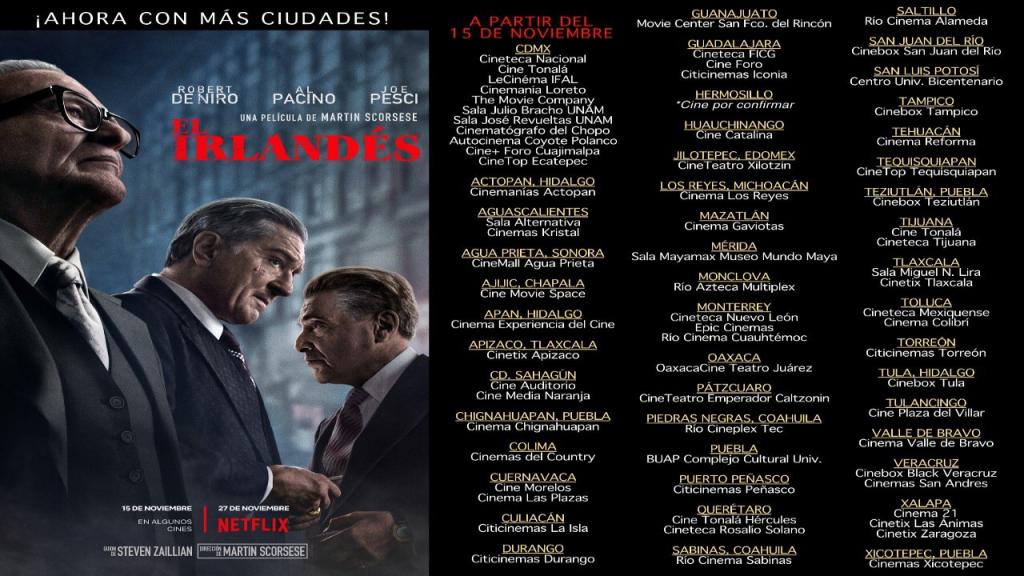 The Irishman, la más arriesgada de las apuestas de Netflix llega al cine