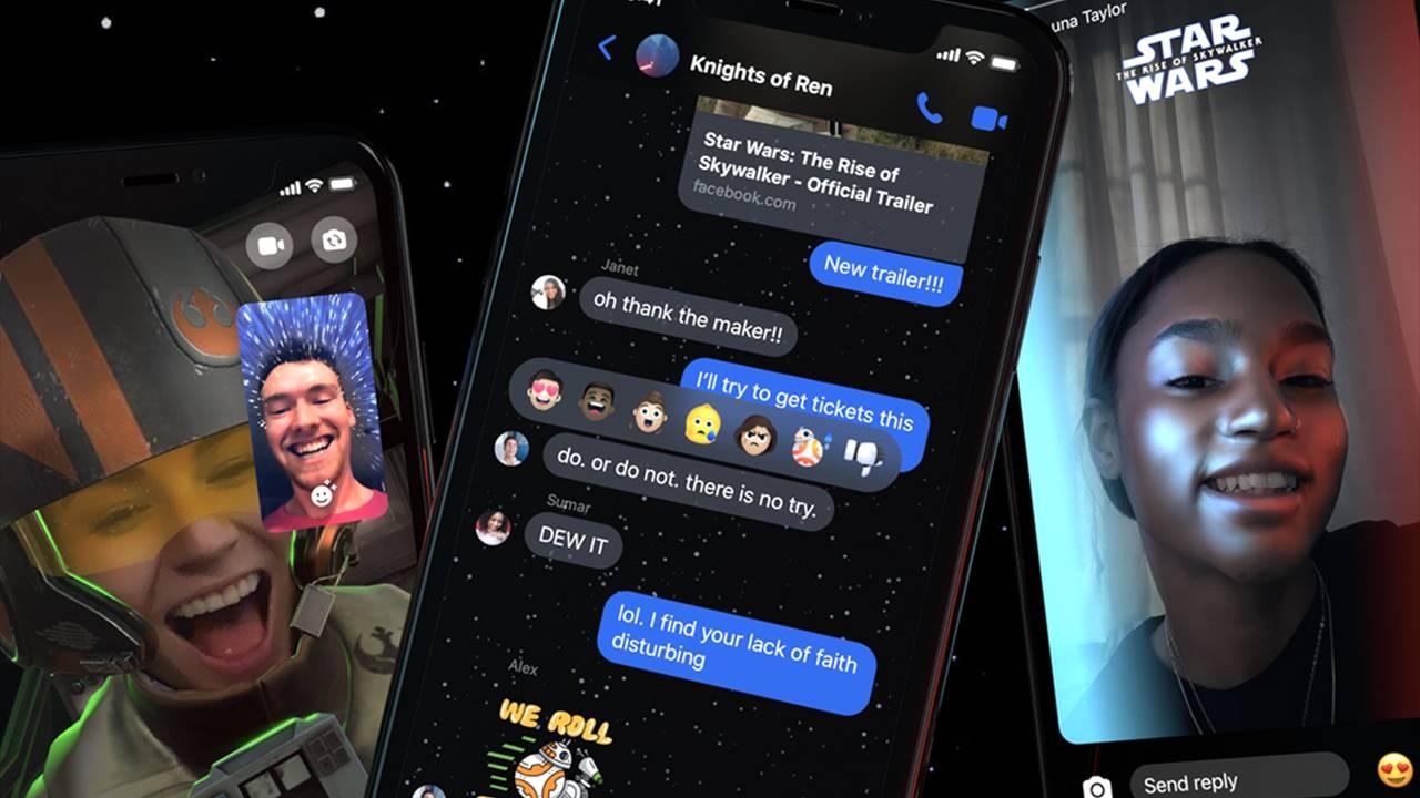 La fuerza de Star Warsllega a Messenger con un tema, filtros y reacciones