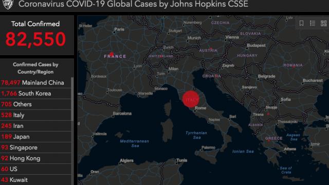 Mapa del contagio Italia centro europa