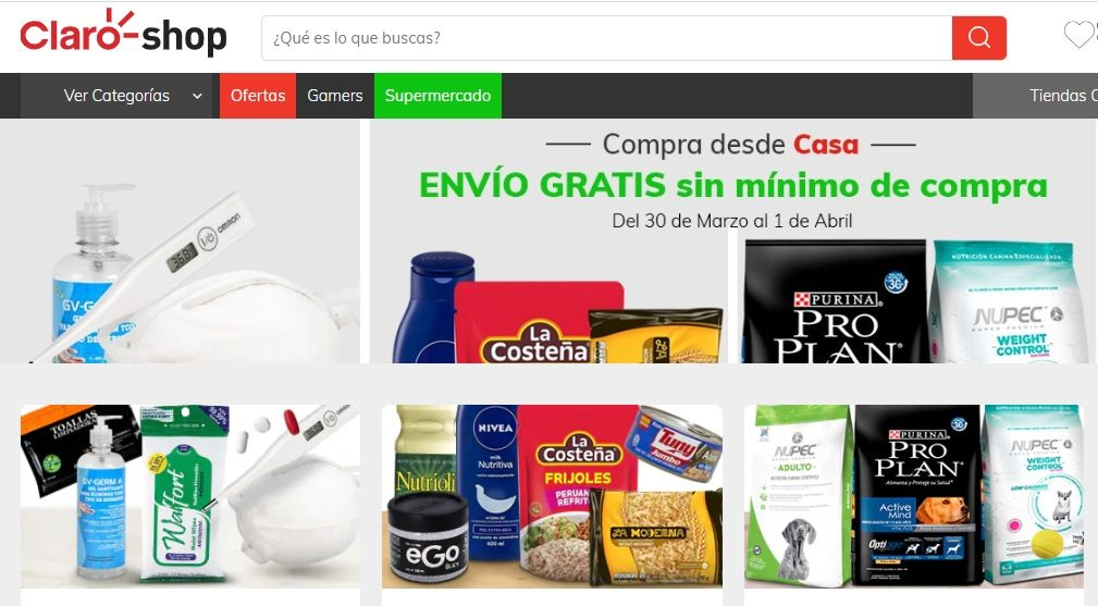 Claro Shop ofrece envío gratis de compras por coronavirus