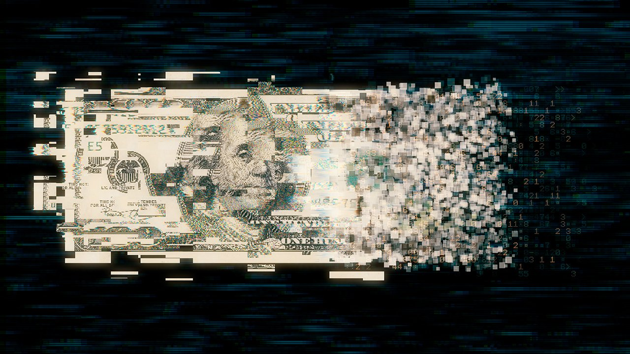 DOLAR MONEDA Pixelated us paper currency on dark background