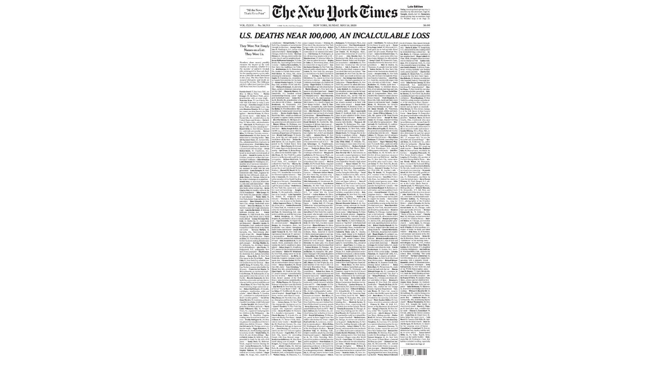 The New York Times publica portada con 1,000 obituarios de fallecidos por Covid-19