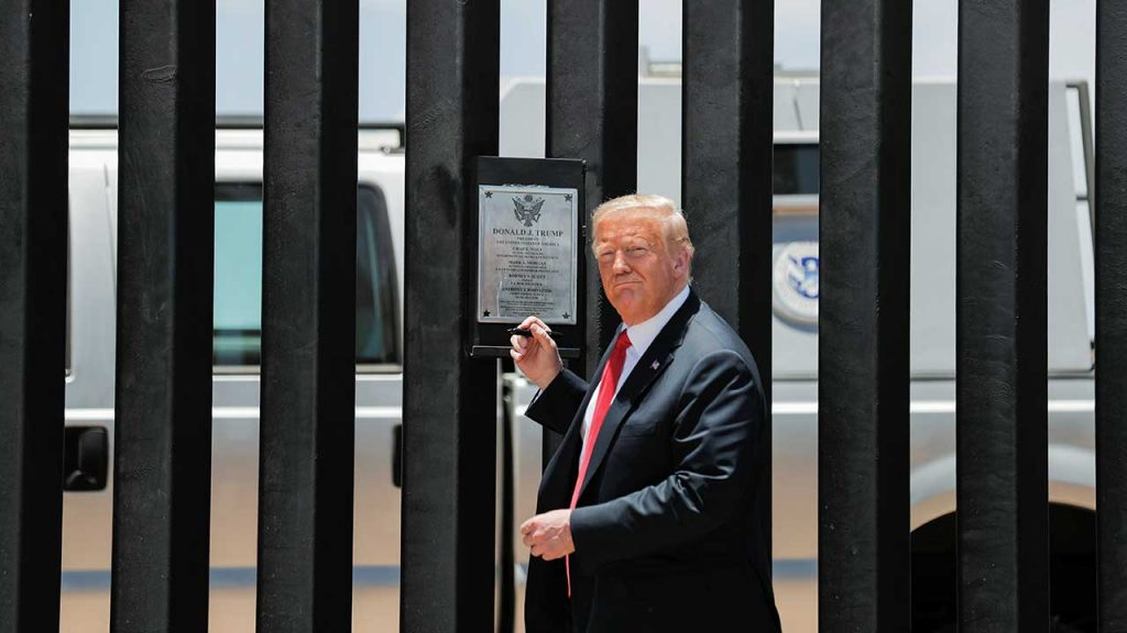 U.S. President Donald Trump visits the U.S.-Mexico border in San Luis, Arizona