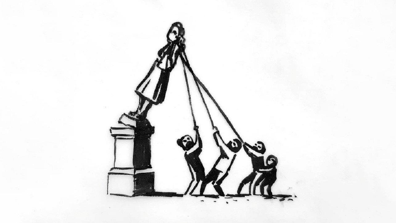 Banksy propone adaptación a estatua derrumbada en Gran Bretaña