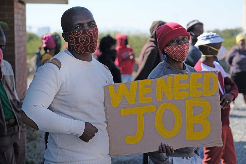 Coronavirus Mining community protests over lack of food and jobs in Rustenburg in South Africa