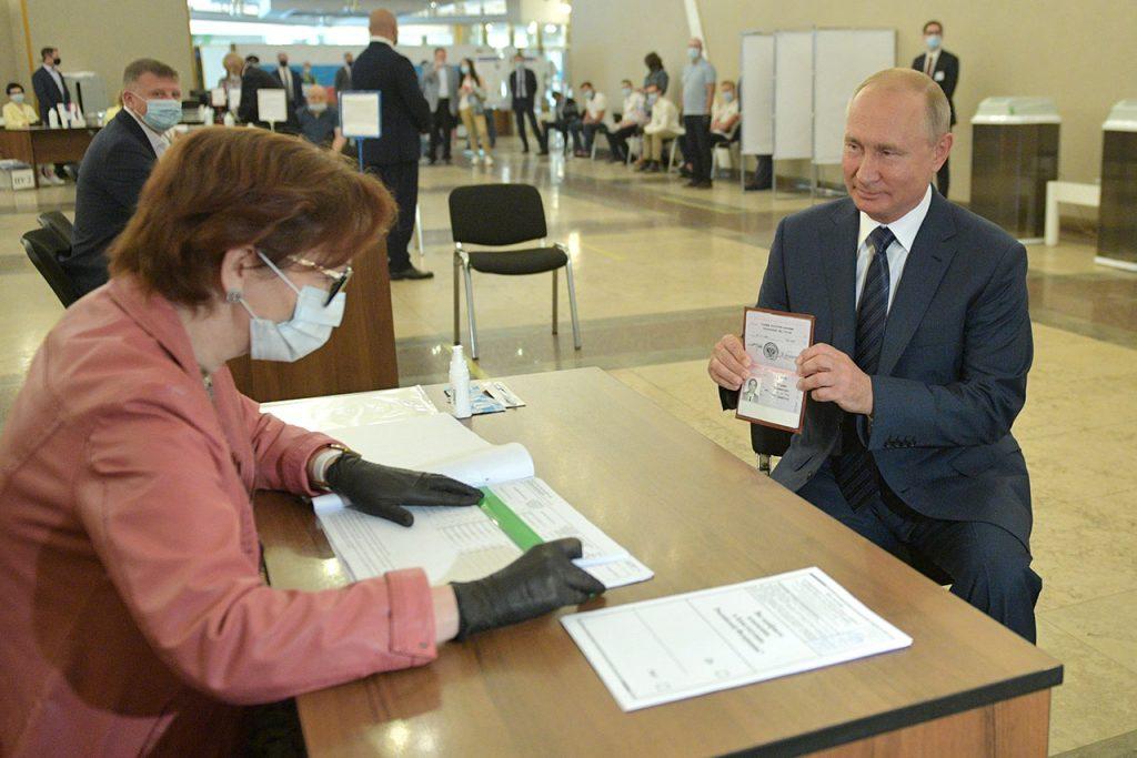 Vladimir Putin votes in 2020 Russian constitutional referendum