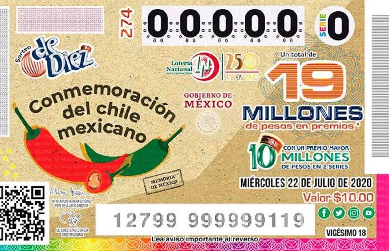 La Lotería Nacional presenta un nuevo billete dedicado al chile