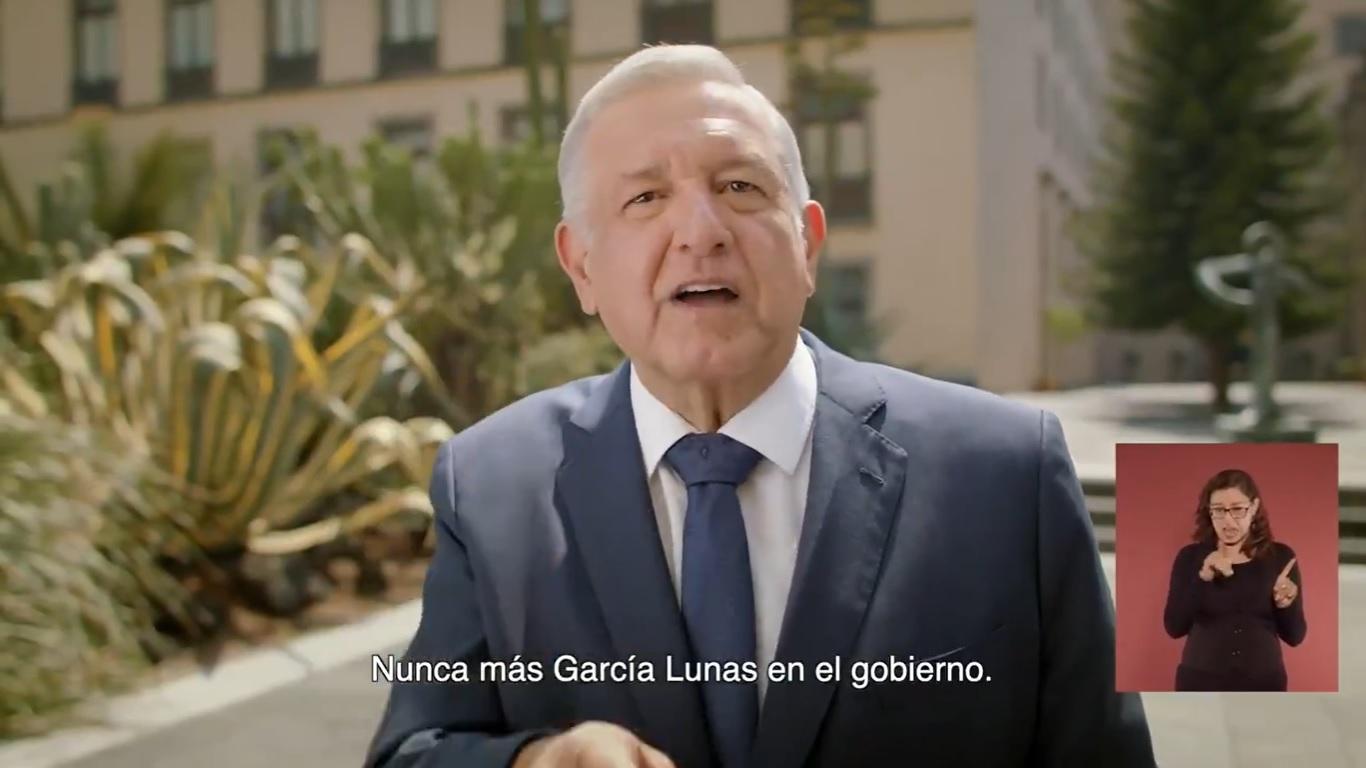 'Nunca más garcialunas en el gobierno': AMLO