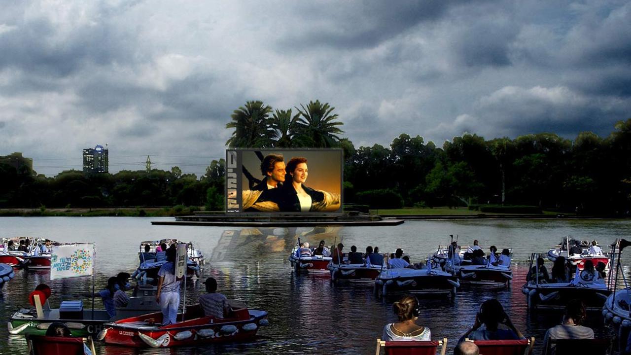 Inauguran el primer cine flotante en el mundo, con sana distancia asegurada