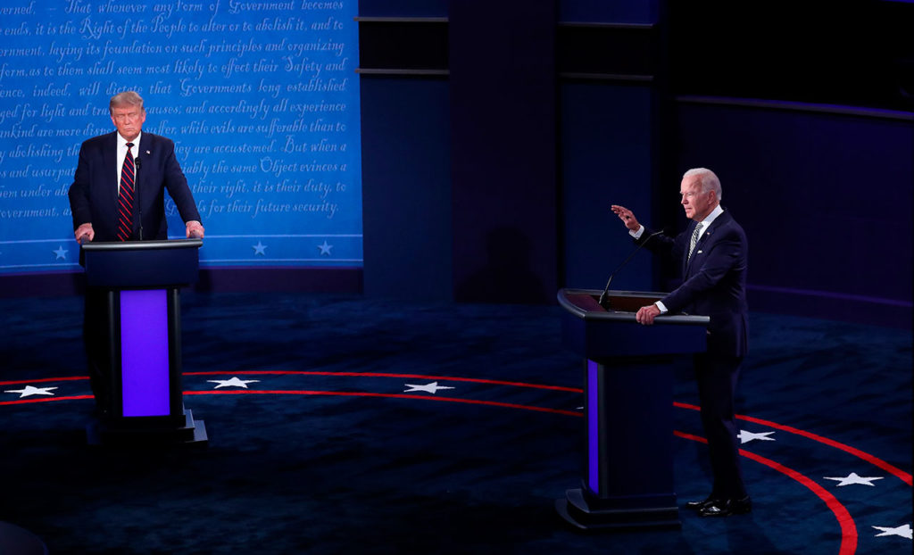First 2020 presidential election debate between US President Donald J. Trump and Democratic presidential candidate Joe Biden